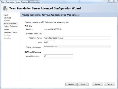 Team Foundation Server Configuration - Advanced - Application Tier
