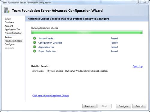 Team Foundation Server Configuration - Advanced - Rediness Checks